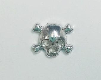 1 PC - Skull Crossbones Halloween Silver Charm for Floating Locket F0374