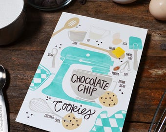 Chocolate Chip Cookies, Customize colors, Recipe Illustration, Kitchen Decor, Kitchen Art, Wall Art, Bakery Art, Bakery Sign, Poster, Baker