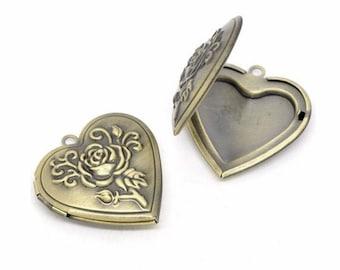 1pc Scent Locket essentuial oil diffuser necklace Antique Bronze Heart locket solid Perfume Locket aromatherapy pendant locket necklace 708x