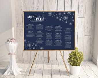 Snowflake Seating Chart, Wedding Seating Chart, DIY Seating Chart, Printable Seating Chart, Seating Chart PDF, Winter Wedding, Navy, Flakes