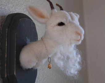 Needle Felted Faux Taxidermy White Goat ~ Wool Animal Art ~ Head Mount ~ Decor & Gifts