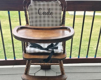 High chair cover / high chair cushion / wooden high chair pad/highchair cover / highchair cushion / highchair pad / vintage/ Ecru Plaid