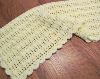 Crochet Baby Blanket Lacy Shell Stitch Crochet Crib Size Afghan -  Yellow  - Direct Checkout - Ready to Ship