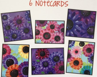 Purple Flowers Illustration - Note cards - Inspiration and Happiness - Blank Stationary