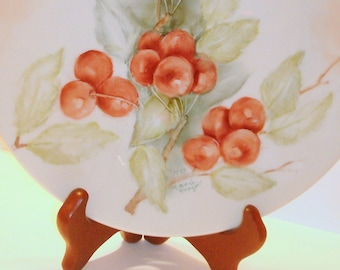 "Collectible Plate Cherry Design Cherry Images Vintage 9-3/8"" wide Porcelain Wall Hanging Serving Plate Wall Decor Home Decor table Decor"