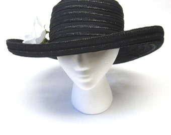 Black Boater Hat Made In Italy Curled Brim