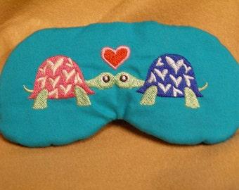Embroidered Eye Mask, Sleeping, Cute Sleep Mask for Kids or Adults, Sleep Blindfold, Slumber Mask, Turtles Design, Sleep Shade, Handmade