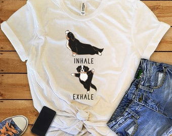 Inhale Exhale Bernese Mountain Dog Yoga T-shirt, Heather Dog lovers Tshirt,Funny Dog Tee Shirts, Yoga lover Dog Lovers gift, Berner Gifts