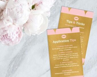 LipSense Tips & Tricks card, Application cards, How to Apply cards, LipSense cards, LipSense business, SeneGence