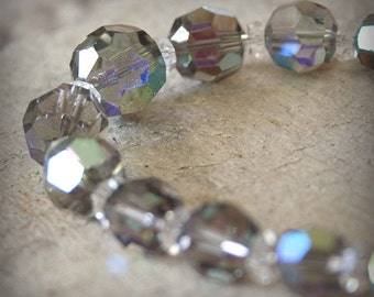 Vintage Swarovski Crystal Starlight Necklace gray sparkly fifties graduated silver sophisticated Sterling box clasp