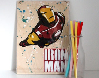 Iron Man Wall Art - Avengers Painting - Marvel Comics - Comicbook Art - Christmas Gift - Gift for Movie Lover - Stocking Filler - Mancave