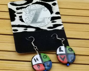 Hope and Love Ceramic African Kazuri earrings, Ethnic Jewelry, Afrocentric, Tribal Jewelry