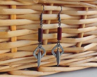 Tribal Earrings, Jasper Earrings, Dangle Earrings, Feather Earrings, Lead-Free Ear Wire