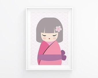 Printable Nursery art, Little Geisha, nursery decor, kids wall art, instant download, baby nursery art, kids art, kids room decor