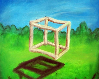 Birch cube, oil pastel painting on canvas