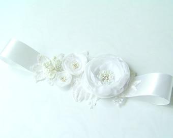 Bridal sash belt  floral sash, Satin Flowers Pearls Beaded Lace Wedding Dress Sashes Belts
