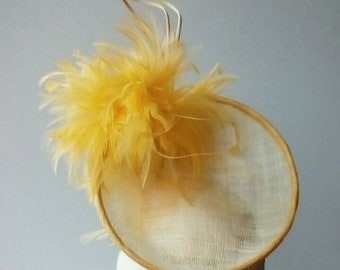 Yellow and ivory disc hat. Ascot hat. Yellow and ivory percher hat. Yellow and ivory Derby hat. Occasion hat. Wedding hat.