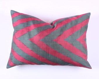 Buglem / Handmade Silk cotton ikat Pillow Cover- 16,60x23,60 inch