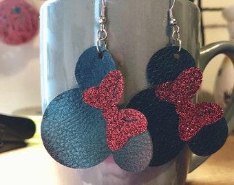 Minnie Mouse earrings, faux leather earrings, fish hook earrings