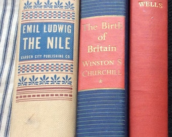 VINTAGE BOOK STACK readable decor, instant collection, history, hg wells, churchill, antiques