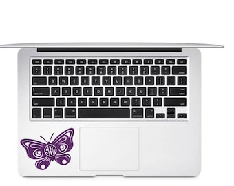Butterfly Monogram, Butterfly Decal, Monogram Vinyl Decal, Laptop Decal
