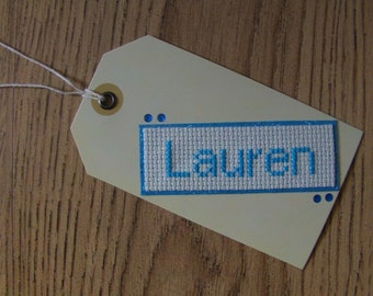 Personalised Cross Stitch Tag ~ Gift Tag ~ Present Label ~ Place Card ~ Birthday ~ Celebrations ~ Occasion
