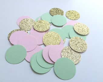 MINT, PINK and GOLD Glitter Confetti.  Circle Confetti for Weddings, Table Decor, Bridal Showers, Birthday Parties