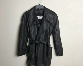 Vintage Givenchy Leather Moto Coat Jacket Medium M 90's 80's