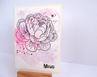 Watercolor thank you card - to send a message of thanks original