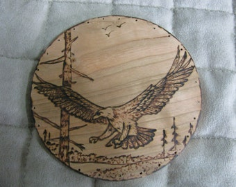 Wood Burnt Image of a Flying Eagle Basket Bottom or Other Craft Projects