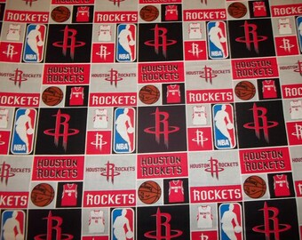 HOUSTON  ROCKETS  - NBA Basketball   Fabric 1/2  Yard   Piece  Mult Color Squares 100% Cotton