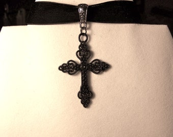 Cross Necklace ~Gothic Cross Choker OR Chain; Gothic jewelry; Black Cross Necklace; Day of the Dead; Black Crucifix Choker; Goth; Cross