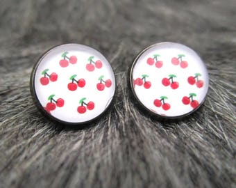 Miss Shabby-earrings rockabilly red cherry