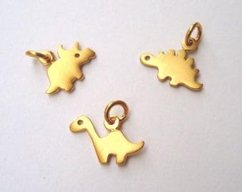 Tiny Solid Gold Dinosaur Necklace Apatosaurus 14k solid  Dinosaur Rose Gold Pendant Brontosaurus Stegosaurus Triceratops Rose Gold Gift