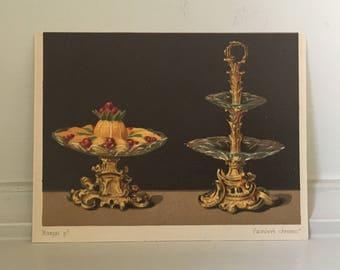 c. 1867 STILL LIFE with FRUIT print - antique fruit lithograph - miniature print - dessert print - still life painting - small food print