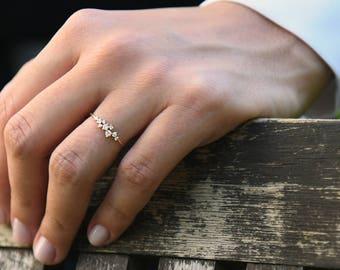 Diamond cluster ring Etsy