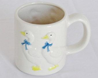 Vintage White Ducks Ceramic Mug