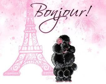 Black Poodle Note Cards Eiffel Tower Bonjour Set of 6 Pink