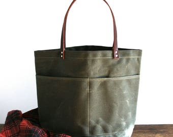 Dark Olive Large Everyday Tote, Waxed Canvas Bag, Waxed Canvas Tote, Canvas Tote Bag, Carry All, Minimalist Style, Everyday Carry Bag