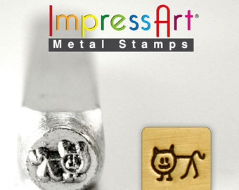 CAT Stick Design METAL STAMP 6mm Jewelry Steel Punch ImpressArt Animal Figure Stamps Custom Stamping Jewellery