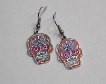 Multicolored Fiesta Pinup Sugar Skull Earrings - Custom Colors Available!