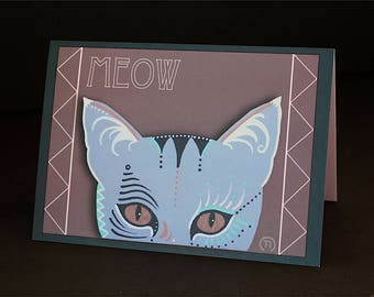 "Meow Cat 4.25"" x 6"" Blank Greeting Card"