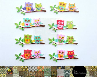 Owls on a Branch Fridge Magnet Set