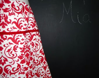A-line SKIRT - Red and White Damask - Made in ANY Size - Boutique Mia