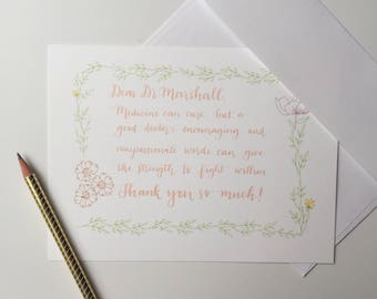 Custom Personalized Hand Lettered Card | Greeting Card | Thank You Card | Birthday Card