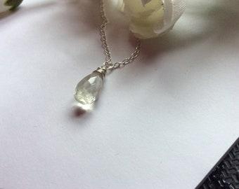 Green amethyst necklace - dainty prasiolite tear drop pendant 925 Sterling Silver Genuine gemstone birthday Birthstone february gift for her