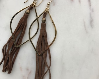 Leather Tassel Swing Earrings
