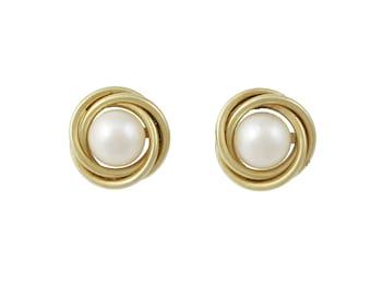 Vintage 14K Gold Cultured Pearl Pierced Post Earrings
