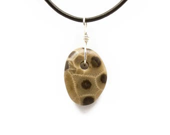 Petoskey Stone Necklace Matte Petoskey Stone Jewelry Pendant Michigan Coral Fossil Beach Stone Leather Silver Gift for Women Her ET222