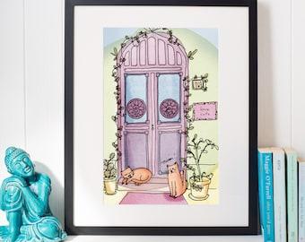 A4 print - Cats at the door